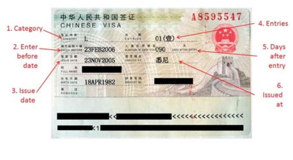 St louis china visa service center a sample of tourist visa l visa to china yelopaper Choice Image